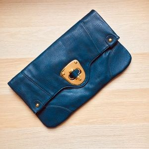 Urban Expressions Navy Blue Leather Clutch Handbag